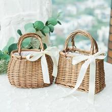 Women Straw Woven Tote Large Rattan Basket Beach Handmade Weaving Purse Handbag Home Storage Basket