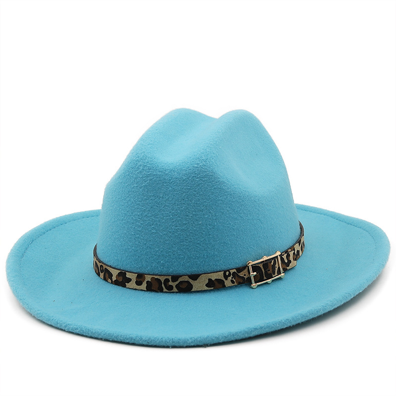 2021 New Fashion Western Cowboy Fedora Hat for Women Men High quality Fedora Hat with Leopard belt