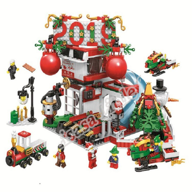 2019 New Christmas Sets Village Train Hot Air Balloon Compatible With Legoinglys Model Building Blocks Bricks Toys Gift No Box 4