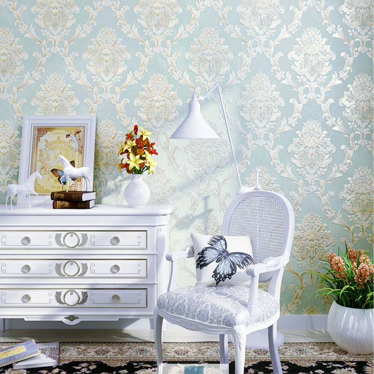 Luxury European Style Nonwoven Fabric Living Room Wallpaper 3D Thick Simple European Damascus Bedroom Wallpaper C8310