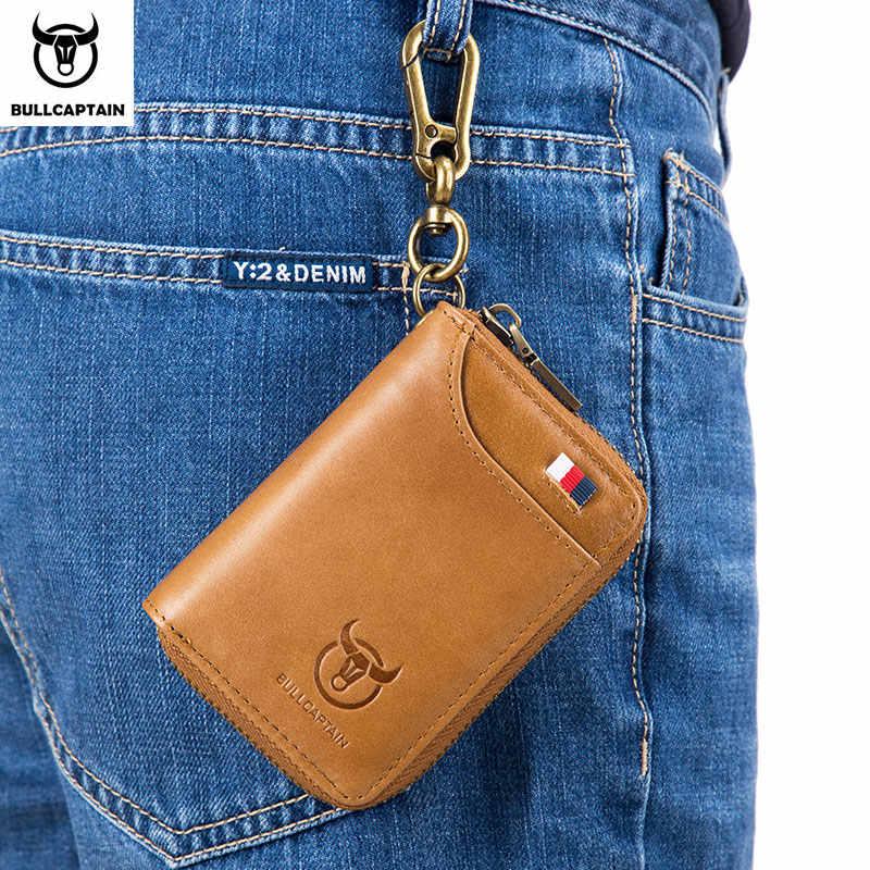 BULLCAPTAIN en cuir véritable hommes et femmes clé portefeuille unisexe RFID blocage affaires porte-clés mode porte-carte porte-monnaie porte-clés