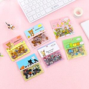 80 шт./пакет, японский канцелярский стикер, милый кот, липкая бумага, Kawaii, ПВХ, дневник, наклейка с медведем, наклейка для украшения, дневник в стиле Скрапбукинг