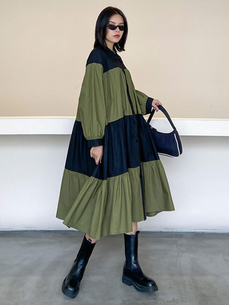 Plus-Size Dress Collar Patchwork Fashion XITAO Personality Women Simple Autumn Full-Sleeve