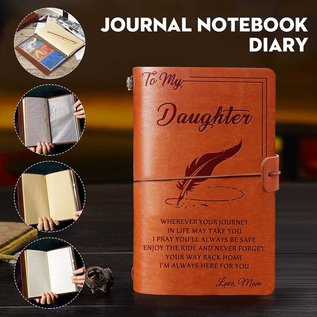 20x12cm Engraved Leather Journal Notebook Diary To My Daughter Face Challenges Love Mon Engraved Notebook Diary