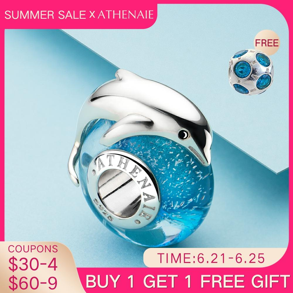 ATHENAIE Playful Dolphin Charms fit Bracelet & Necklaces 925 Sterling Silver Italian Murano Glass Charm Bead for Women Jewelry
