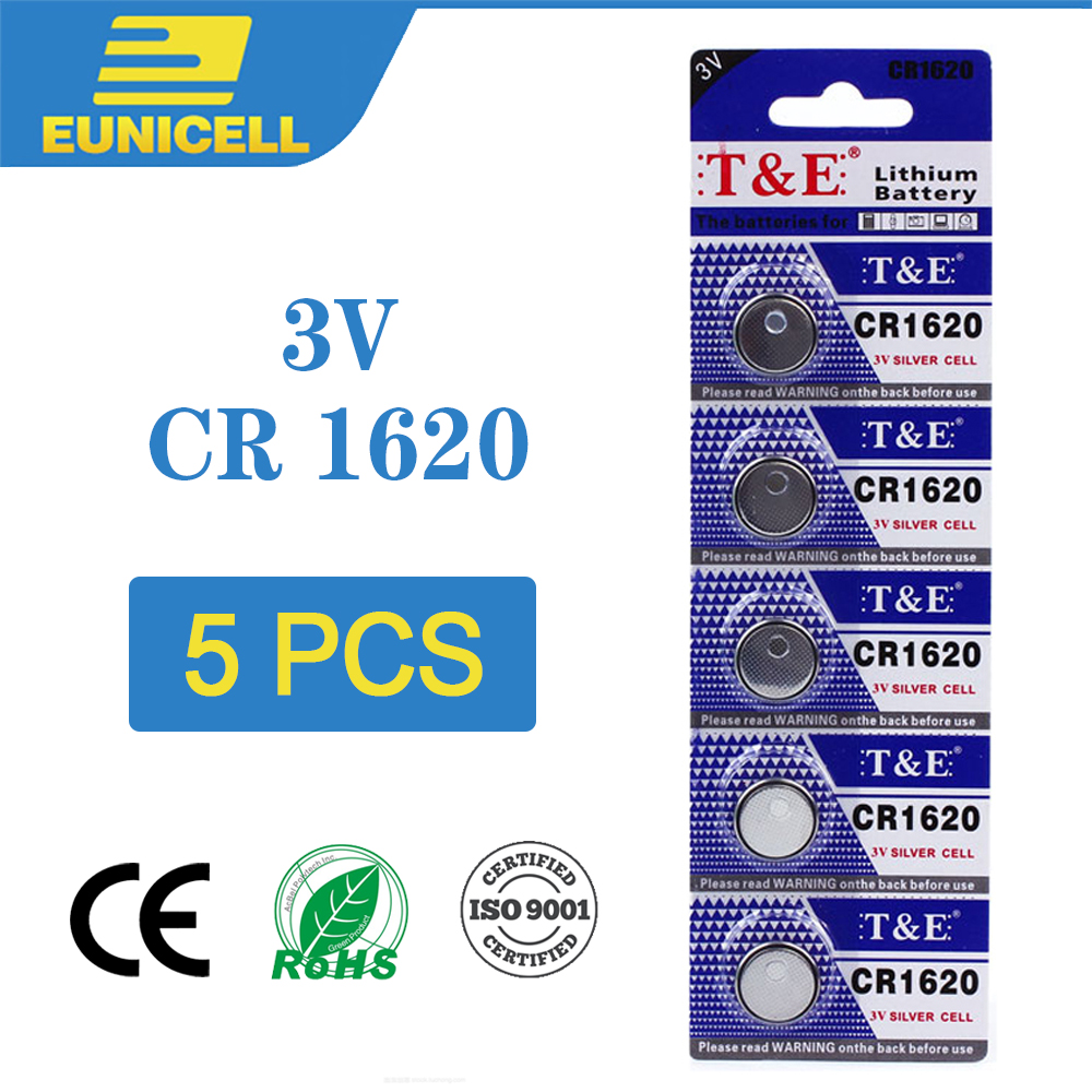 5pcs Lithium Cell Coin Battery 3V CR1620 CR 1620 Button Batteries  ECR1620 DL1620 5009LC For Watch Toy Remote Electronic Car Key