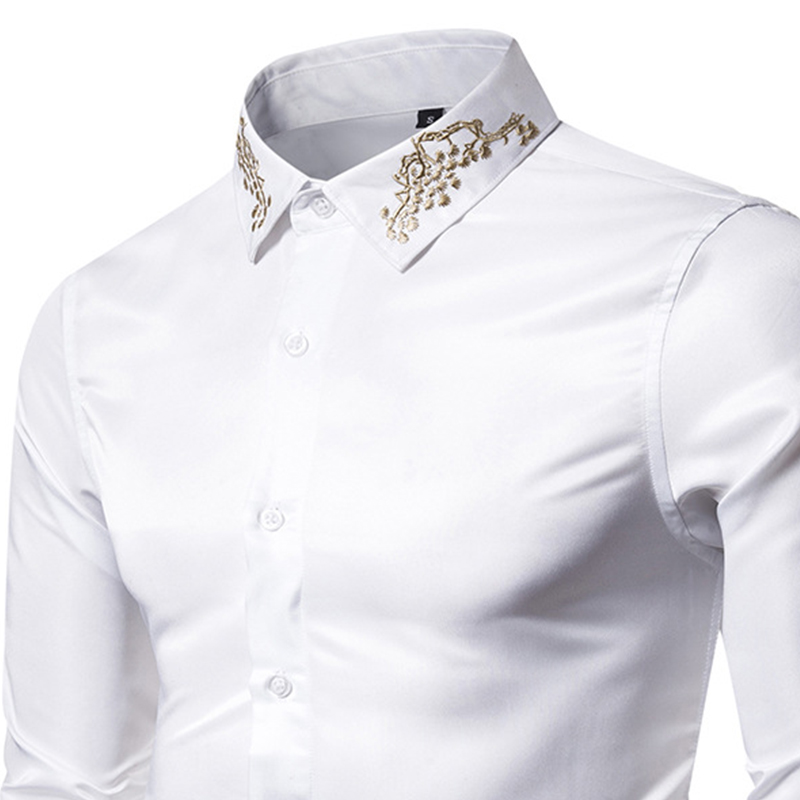Ou Code  2019 New Palace Style Embroidery Fashion Men'S Men'S Long-Sleeved Shirt S-XXL