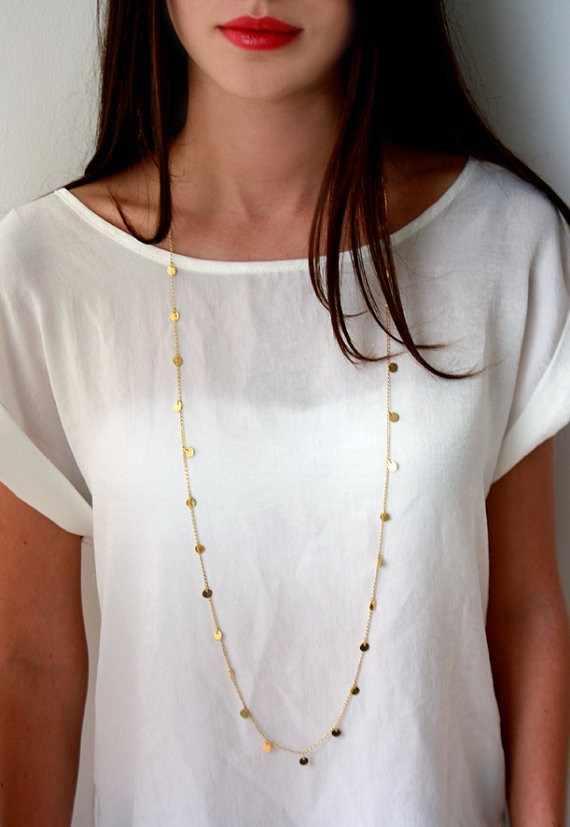 Długi bohemia proste kobiety naszyjnik nowa moda trendy długie cekiny dwa styl noszenia prezent dla kobiet