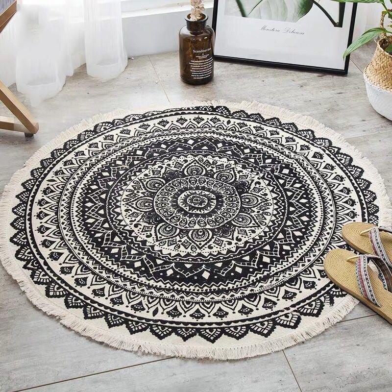 Скандинавский круглый ковер Богемия этнические ковры с кисточками черный Мандала ковер для гостиной современный классический хлопок лен марокканские ковры