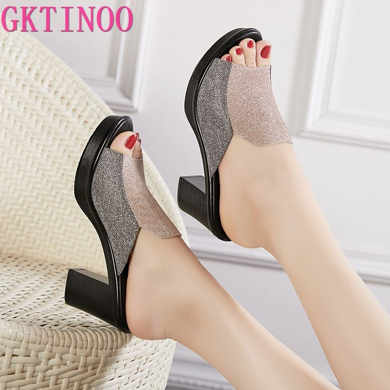 GKTINOO Women's Slippers Sandals 2020 Summer 8cm High Heels Women Shoes Woman Slippers Summer Sandals Fashion Shoes
