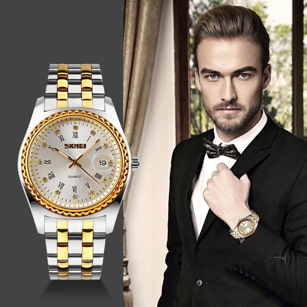SKMEI 9098 Roman Numerals Rhinestone Date Quartz Unisex Stainless Steel Band Wrist Watch