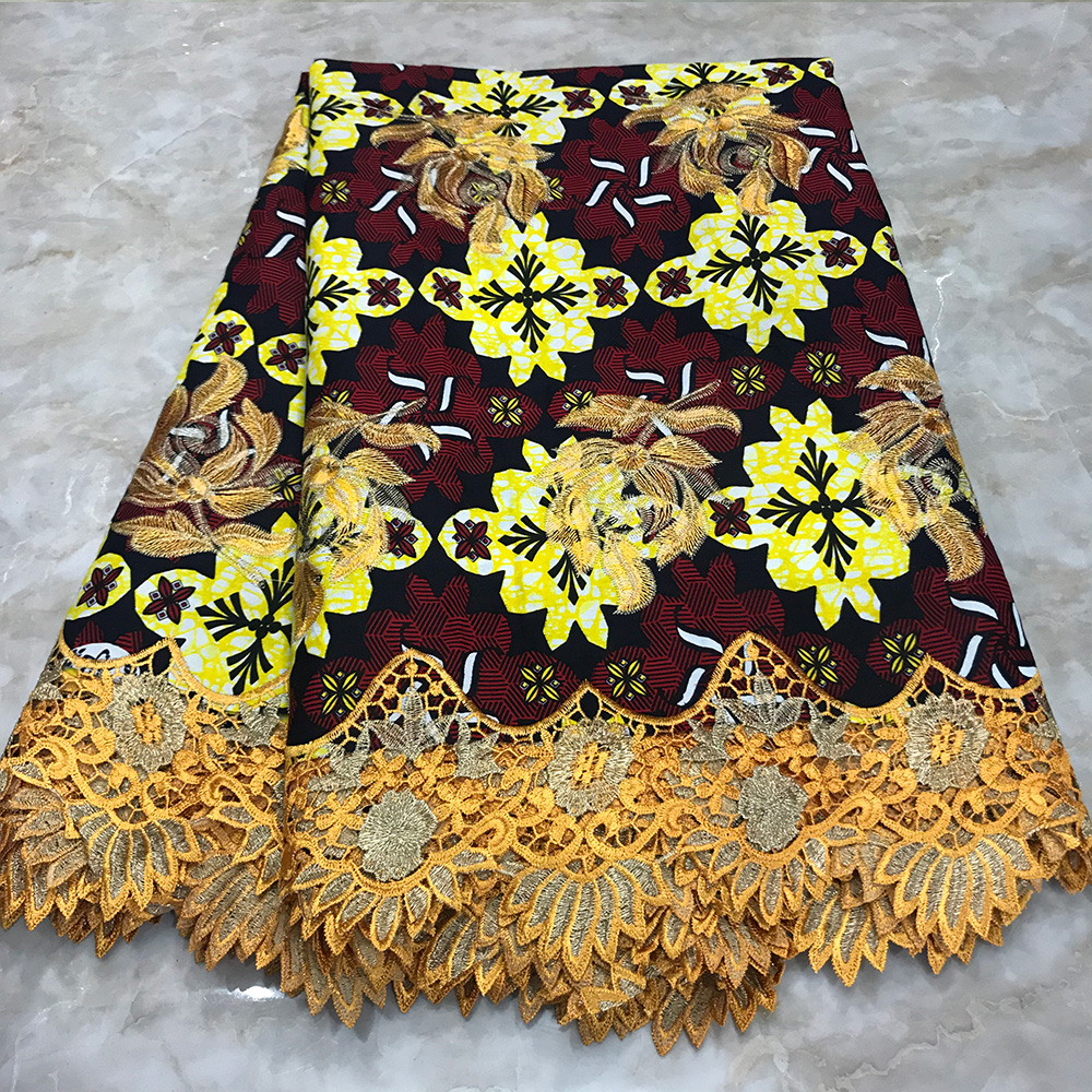 Ankara Wax Lace Fabric Cotton Embroidery Wax With Lace Materials Nigerian African Fabric Wax Print For Dress Wedding 6 Yards