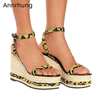Vine Braided High Wedges Sandals Printed Chunky Platform Shoes Woman Fashion One Strap Gladiator Sandalias Beach Sandals Women