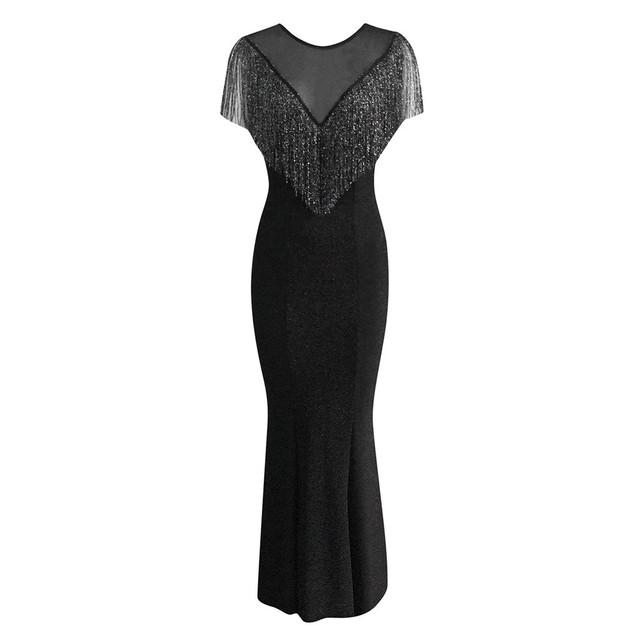 Women Black Plus Size Dress Sleeveless Perspective Glitter Tassel Party Evening Long Women Dress Elegant Summer 2020 Ropa Mujer