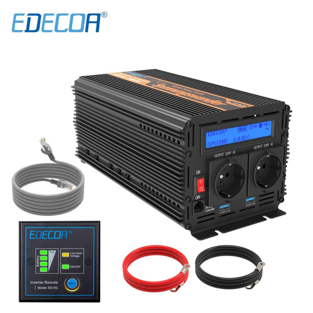 EDECOA 1000W 2000W power inverter DC 12V AC 220V 230V 240V pure sine wave with 5V 2.1A USB and remote controller LCD display