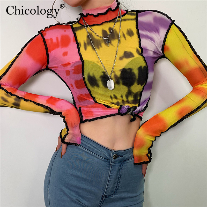Chicology tie dye print mesh sexy T-shirt patchwork aesthetic long sleeve tshirt 2019 autumn winter women top party club clothes