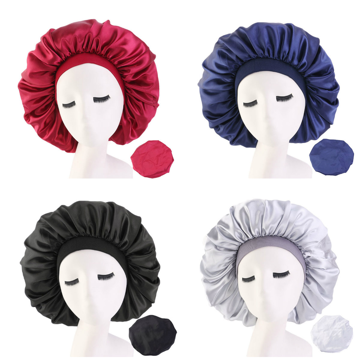 Hair-Bonnet-Hat Head-Cover Elastic-Band Satin Night-Sleep-Cap Silk Women New Fshion Wide