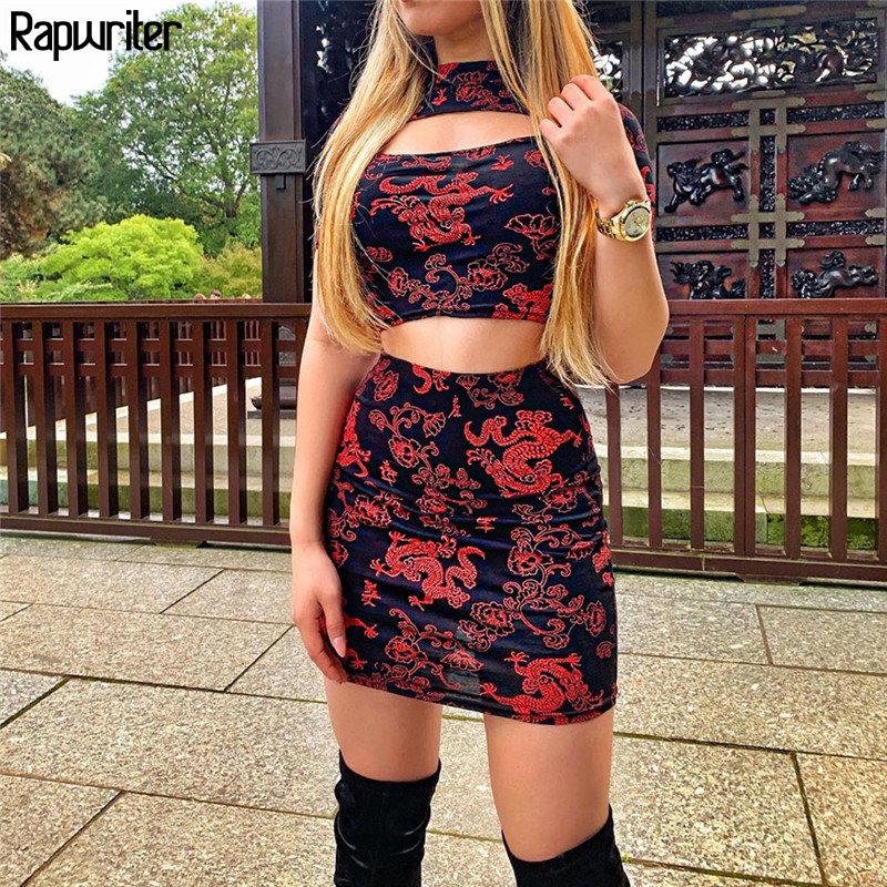 Rapwriter Chinese Style Dragon Print Two Piece Set Women Summer  2020 Bodycon  Turtleneck Crop Top And Mini Skirt Sets Outfits