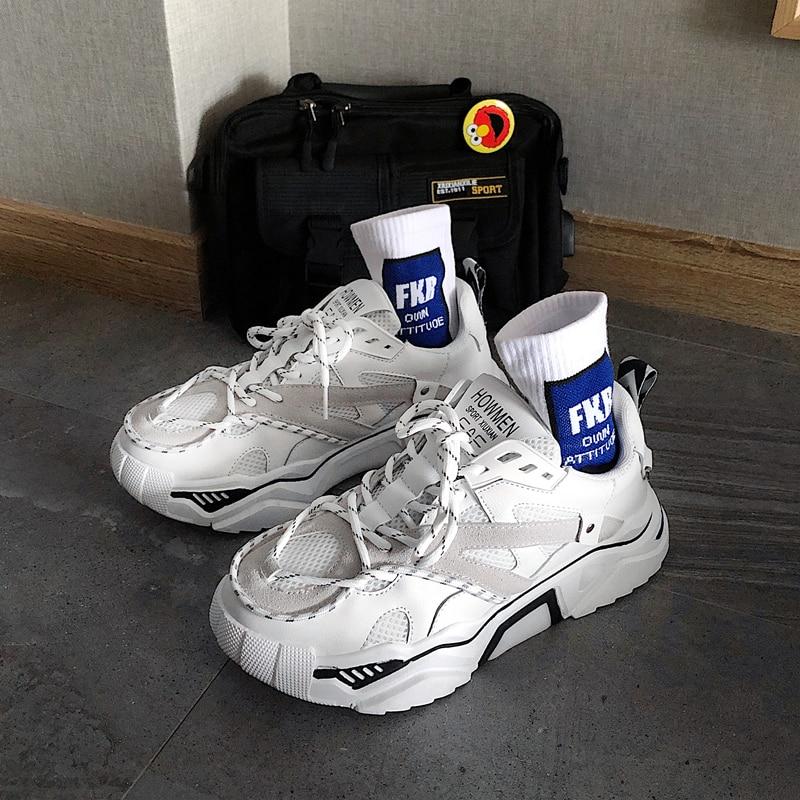 2019 New Cushion Damping Men Casual Vulcanize Shoes Mesh Weaving Male Flats Shoes White Sneakers Solid Outdoor Walking Men Z2-90