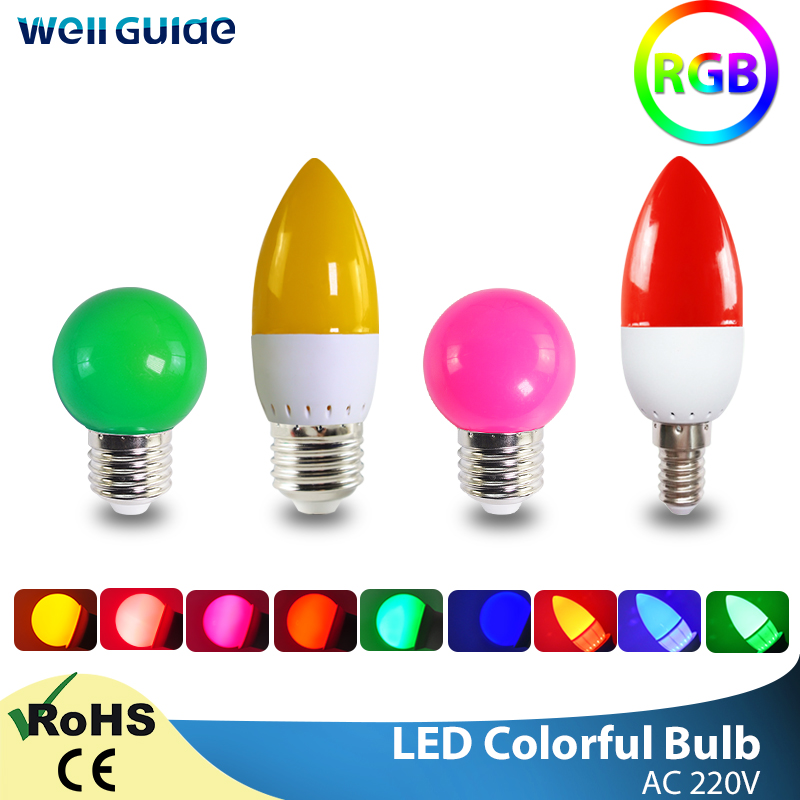 Led Candle Light  E27 E14 3W LED Lamp G45 C35 RGB Colorful Led Bulb SMD 2835 AC 220V 240V Flashlight Globe Bulbs Home Decor For