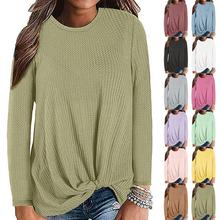 12 Colors Women Waffle Knit Tunic Top Blouse 2019 New Autumn Winter Casual Knot Cute Shirts Long Sleeve Tops Female
