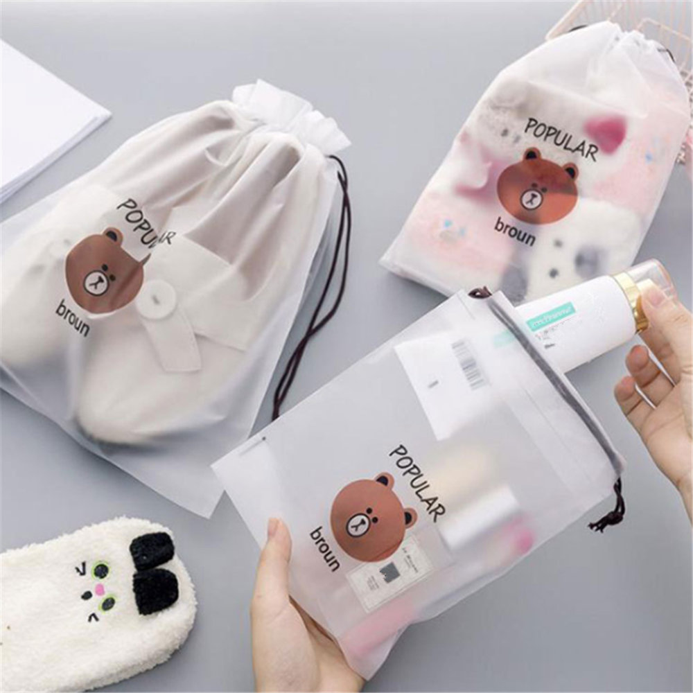 Cartoon Bear Clear Sundries Organizer Travel Storage Bags Transparent Zip Lock Bag Cosmetic Bathroom Organizer Toiletry Wash Bag