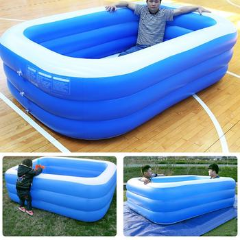 3-Layer Children Bathing Tub Baby Home Use Paddling Pool Inflatable Square Swimming Pool Kids Inflatable Pool 130*90*50CM children multi layer bathing tub baby home paddling pool inflatable summer swimming pool kids inflatable pool ocean ball