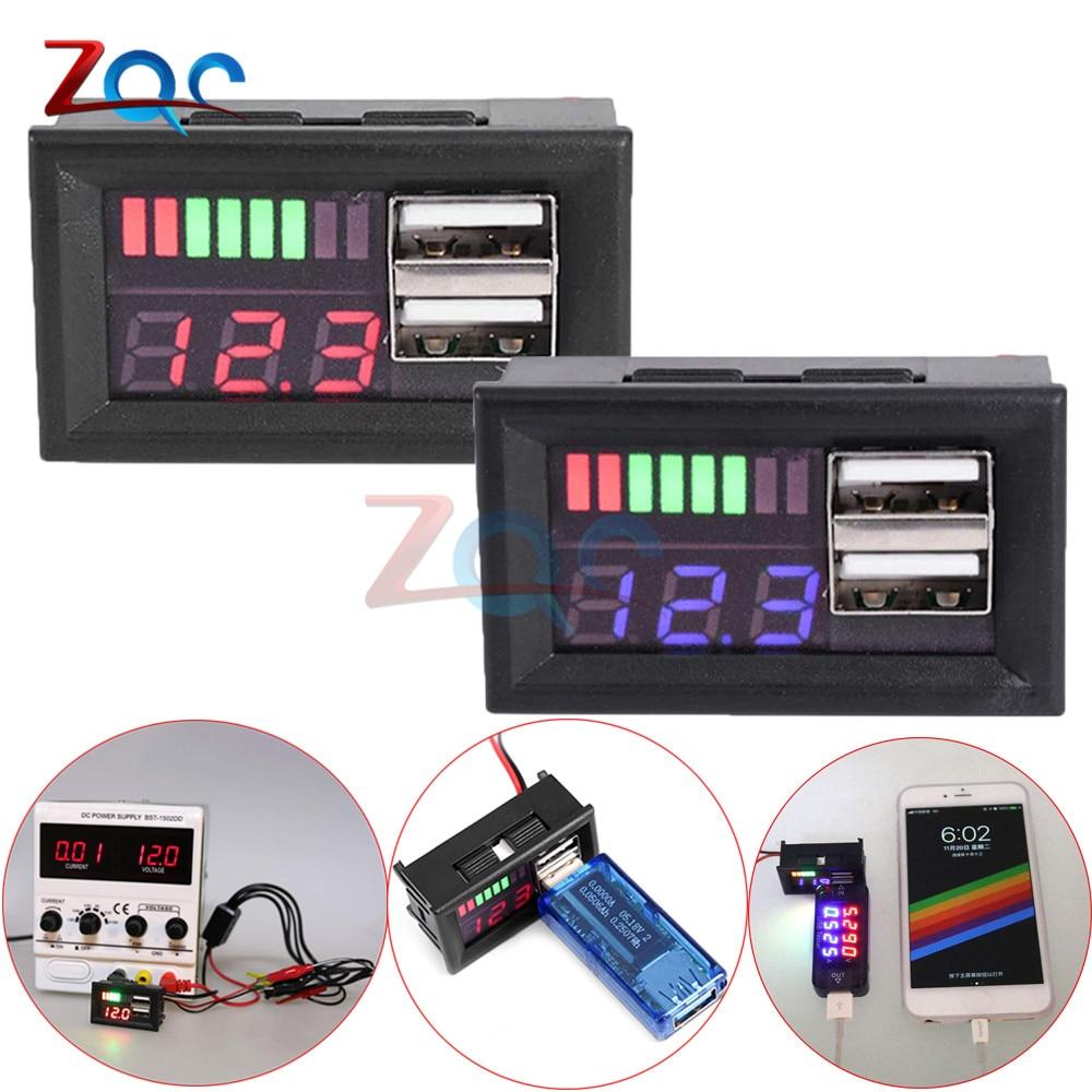 Digital Voltmeter Mini Voltage Meter 3S Lithium Lead Acid Battery Tester LED Display DC 12.6V For Car Motorcycle Dual USB Output