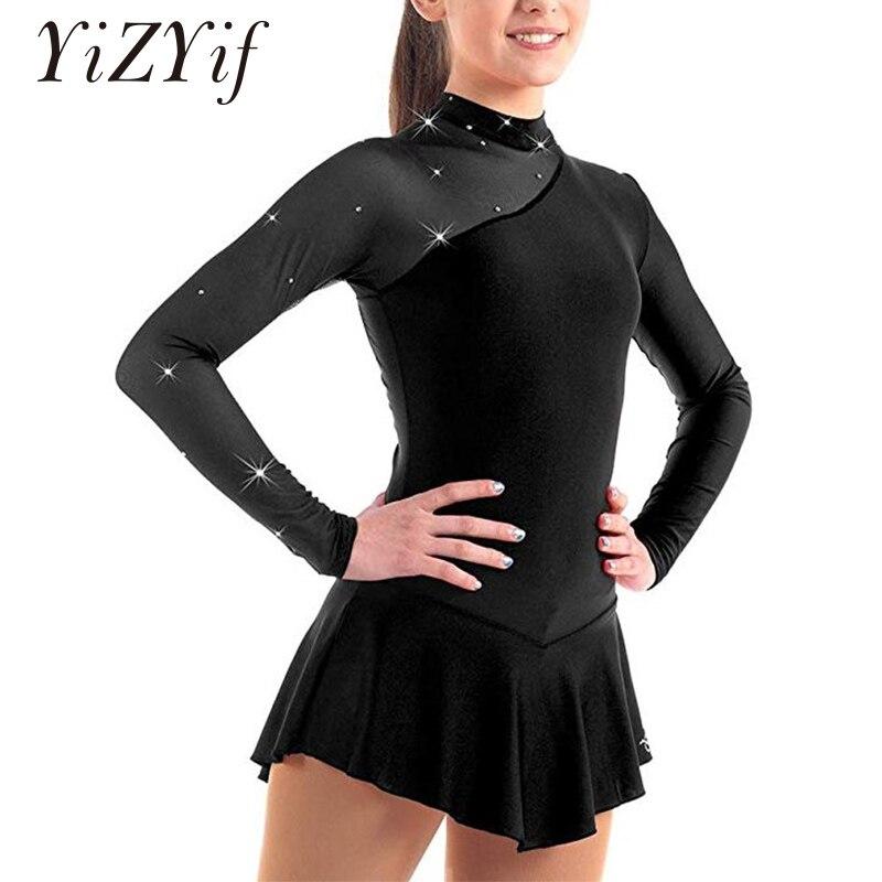 Girls Gymnastic Leotard Ballet Dress Kid Skating Dress Long Sleeves Mock Neck Tulle Splice Cutouts Back Figure Ice Skating Dress