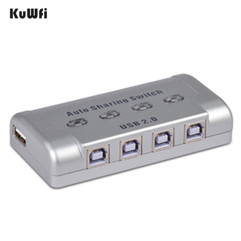 KuWFi USB Print Server 4-port Printer Sharing Device 4 Computer Sharing A Printer Automatic Printing Switcher