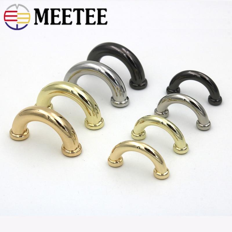 Meetee 10pcs 14/17mm Metal Bag Arch Bridge D Ring Buckle Strap Hook DIY Handbag Hardware Belt Leather Repair Accessories BD302