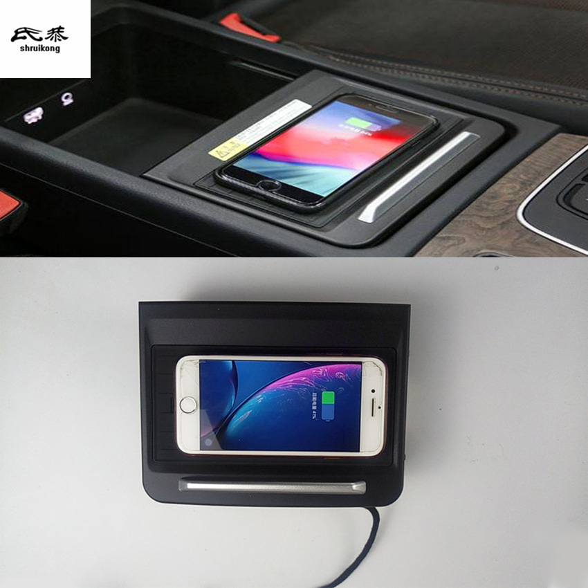 10W QI Wireless Charging Phone Charger Fast Charging Plate Panel Phone Holder For 2018 2019 AUDI Q5 FY Car Accessories