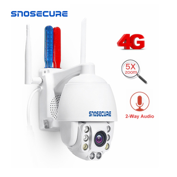 SNOSECURE 2MP 3G 4G SIM Card Wireless Mini PTZ Dome IP Camera 1080P Outdoor Waterproof Alarm 5X Zoom Two Way Audio Security CCTV