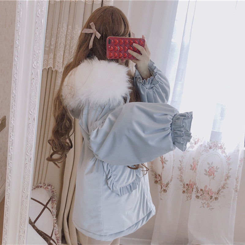 Winter sweet lolita coat quilted thicken fur collar gothic lolita overcoat puff sleeve pockets kawaii girl cotton-padded clothes