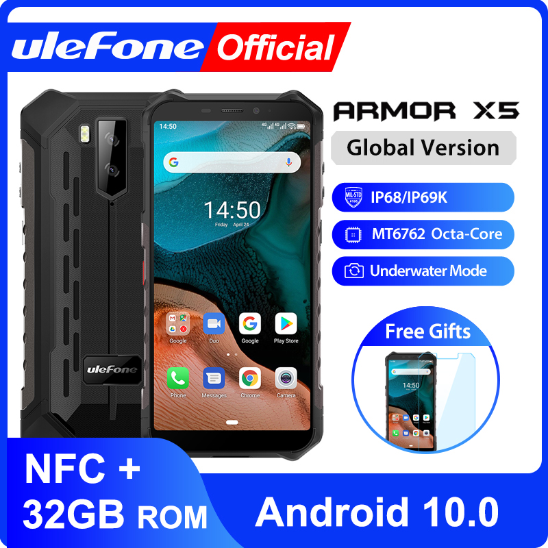 Ulefone Armor X5 MT6762 Android 10.0 Ip68 Rugged Waterproof  Smartphone Cell Phone 3GB 32GB Octa Core NFC  4G LTE Mobile Phone