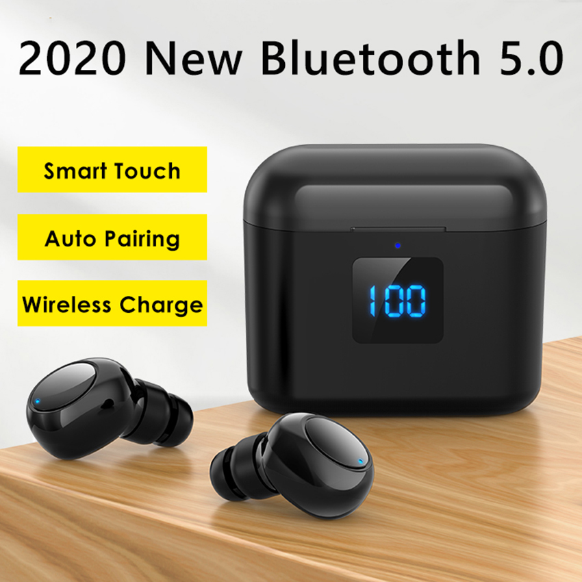 Aimitek Touch Bluetooth 5.0 Earbuds TWS Smallest Wireless Earphones 8D Stereo Sports Headsets 3600mAh Charging Case LED Display