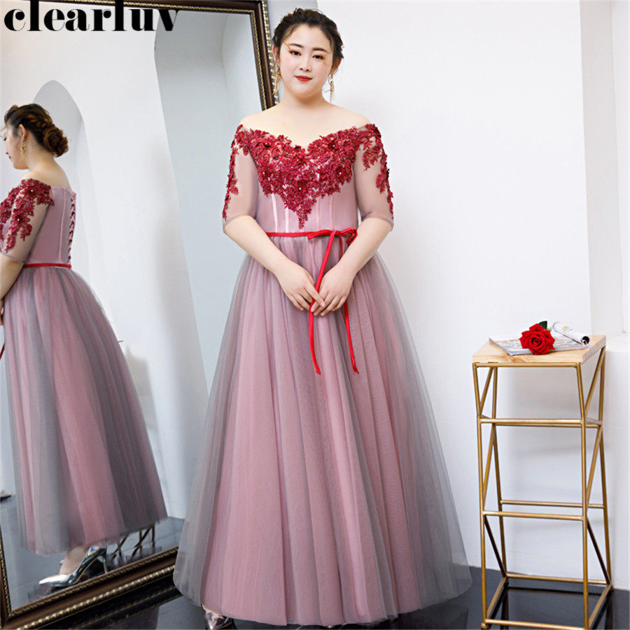 Off Shoulder Evening Dress Half Sleeve Robe De Soiree T325 2019 Plus Size Women Party Dresses Long Flowers Elegant Formal Gowns