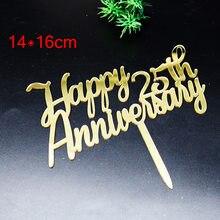 Aniversário aniversário 25th acrílico bolo topper ouro casamento aniversário cupcake toppers para festa de aniversário decorações do bolo