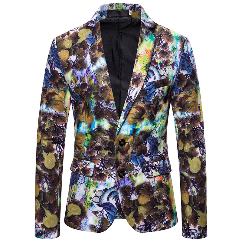 2020 Men's Fashion Digital Printing Glaze Suits Young Leisure Suit