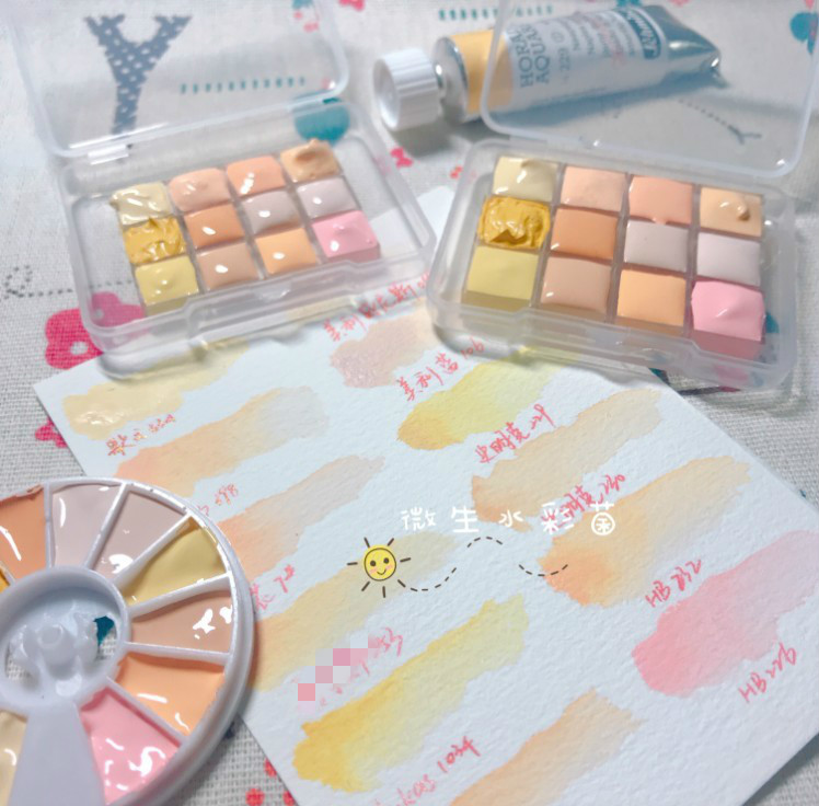 12 Colors Watercolor Skin Color Aquarelle Collection Rembrandt Beautiful Gouache Blue Song Painter Van Gogh Packing Tray