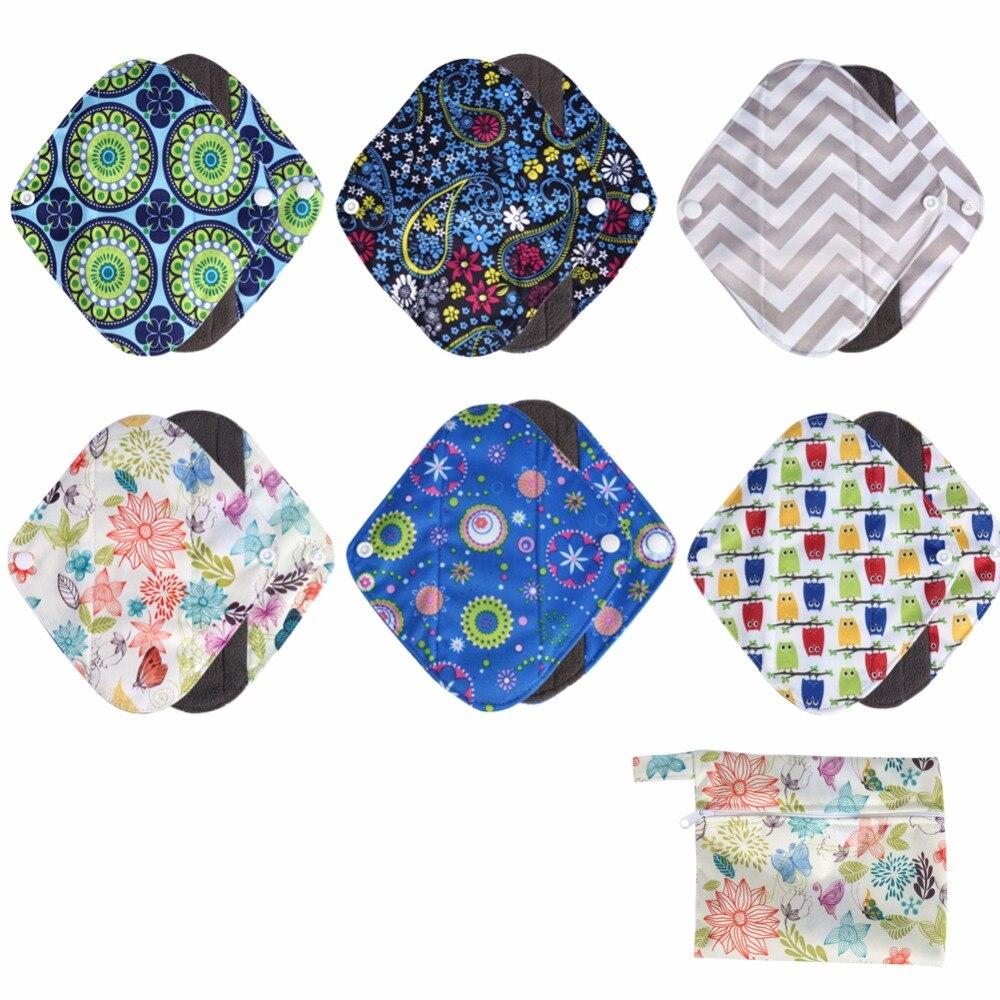 1PC Washable Wet Bag + 6PCs M Size Reusable Bamboo charcoal Cloth Sanitary Menstrual Pads Panty Liner