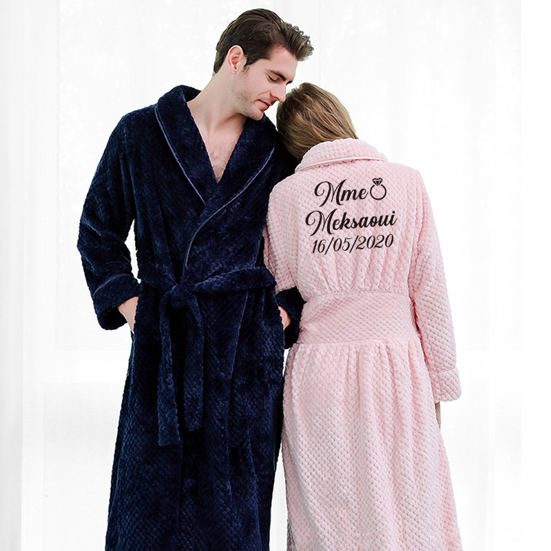 Customize Nama Date Women Men Warm Dobby Coral Fleece Bathrobe Winter Thick Flannel Thermal Kimono Dressing Gown Bride Peignoir
