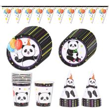 Panda Theme Party Disposable Tableware Plate Cups Birthday Decorations Kid