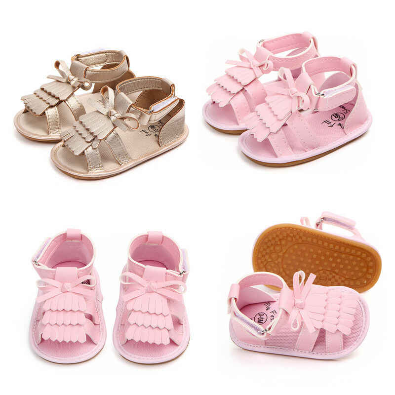 Kids Baby Girls Sandals Tassel Anti-Slip Summer Crib Shoes Soft PU Prewalkers Sandals