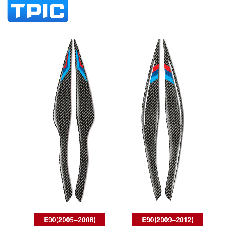 TPIC Carbon Fiber Headlights <font><b>Eyebrows</b></font> Eyelids Car Stickers For <font><b>BMW</b></font> <font><b>E90</b></font> Front Headlamp <font><b>Eyebrows</b></font> 3 series 2005-2012 accessories image