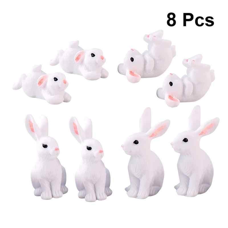 8 pçs coelho bonito páscoa artesanato de resina em miniatura mini ornamento de coelho fontes de jardim de fadas estatueta casa ornamento de jardim animal