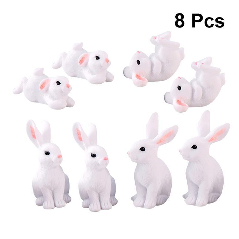 8PCS Cute Rabbit Easter Miniature Resin Craft Mini Bunny Ornament Fairy Garden Supplies Home Figurine Animal Garden Ornament