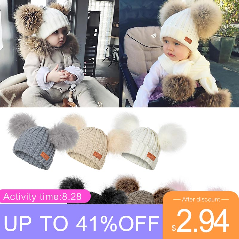 Winter Hat Pom-Poms Warm-Caps Beanies Cute Knitted Girls Boys Kids Cotton Fashion Children