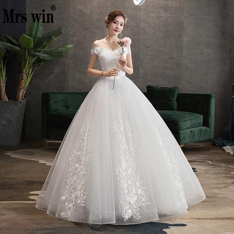 Mrs Win Wedding Dress 2020 New Sexy V-neck Ball Gown Princess Vintage Wedding Dresse Luxury Lace Wedding Gowns Plus Size