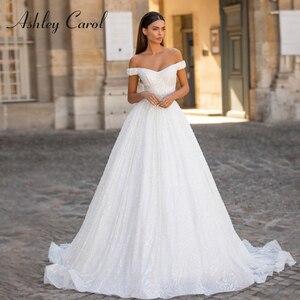 Image 1 - אשלי קרול נסיכת חתונה שמלת 2020 יוקרה חרוזים תחרה מתוקה עם גלימה להסרה אונליין כלה שמלת Vestido דה Noiva